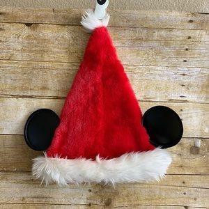 Disney Mouse Ears Santa Plush Cap Adult Size